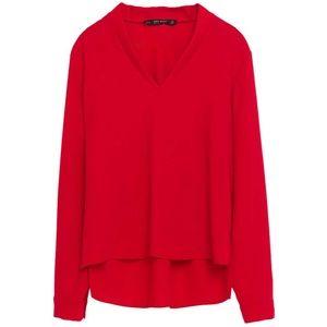 Zara V-Neck Red Blouse